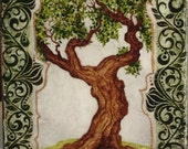 Original ACEO Tree with Swirly Green Border