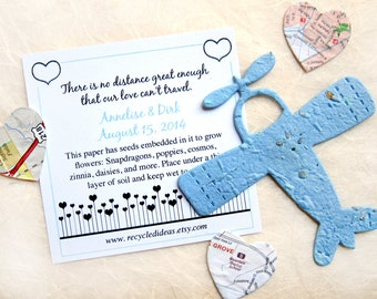 30 Plantable Paper Airplanes Destination Wedding Favor - Seed Paper Planes - Love is in the Air Cards