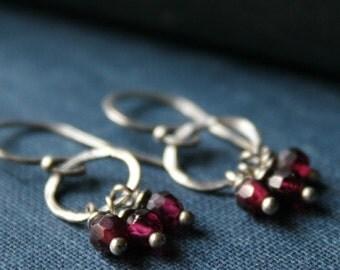 Scarlet Red Garnet Sterling Silver Dangle Earrings - CHIANTI