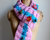 Knit loop scarf. Bohemian. Pink. Turquoise. Felted flowers. Extra large knit scarf. Gifts for her. Chunky knit loop scarf. Handmade knitwear