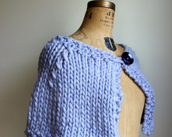 Chunky Knit Capelet  Purple. Lilac.