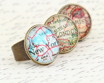 City Map Ring, Statement Ring, Gift For Traveler, Map Jewelry, travels Adventures, New York, Paris, London, Adjustable Ring, Gift For Woman