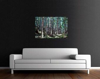 "CANVAS PRINT Galiano Forest Path Painting 12x8"", 18x12"", 24x16"", 30x20"", 36x24"", 42x28"", or 48x32"""