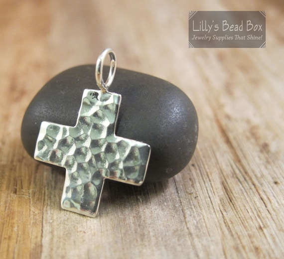 Silver Cross Charm, Hammered Cross Charm, Large Sterling Silver Cross Pendant, Modern Cross Charm (CH-2300)