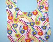 Rainbow Hearts Reversible Flannel Baby Bib