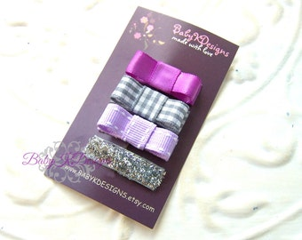 SAVE 15% Spring Bows Silver Lavender Purple and Glitter Baby Bow / Baby Clips Perfect Baby Bow No Slip Snap Clips 4 Itty Bitty Newborn Bows