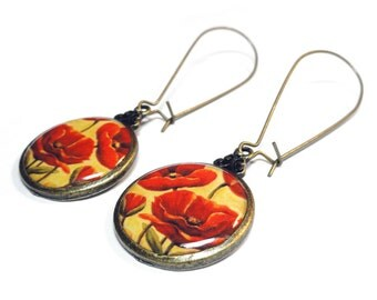 Poppy Earrings, Poppy Flowers, Red Flowers, Handmade Earrings, Resin Jewelry, Handmade Jewelry, Resin Earrings, Red Earrings, Red Poppies