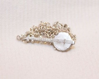 Banjo necklace, banjo charm, banjo jewelry, music jewelry, musician gift, musical instrument jewelry, music lover jewelry, gift for her