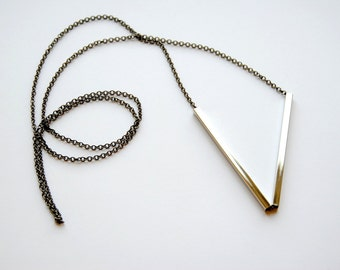 Skinny Bars Necklace. Minimal Geometric Jewelry. Silver Sticks Long Layering Necklace. Minimalist Black Gunmetal Chain. FREE Shipping in US