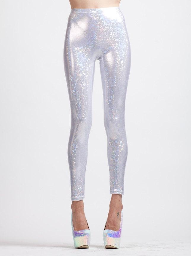 White Holographic Super High Waist Liquid Leggings