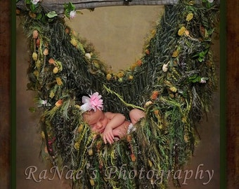 Fairy Green HAMMOCK. Baby Fringe Blanket Photo Prop. Children Nature Garden Photography Prop