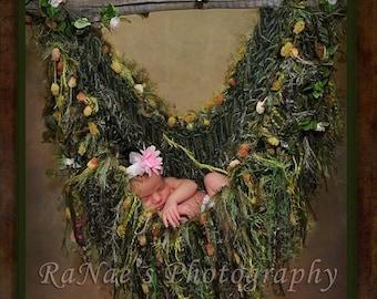 Fairy Green HAMMOCK. Baby Fringe Blanket Photo Prop. Children Nature Garden Photography Prop