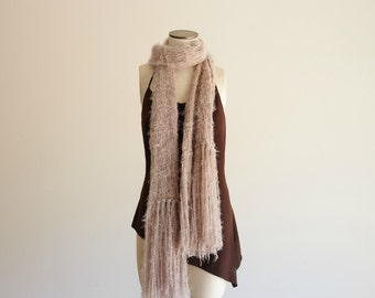 Long Scarf, Long Knit Scarf, Light Brown Knit Scarf Beige, Tan Neutral Accessories Taupe Scarf