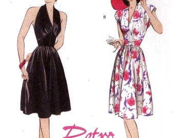 40s Retro dress pattern 1947 halter or day dress re issue sewing pattern Butterick 5209 SZ 14 to 20 UNCUT