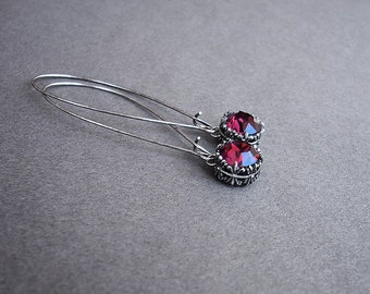 Burgundy Earrings Oxidized Silver Earrings Red dangle Drop Earrings Long Earrings Burgundy Swarovski Long Wire girlfriend gift