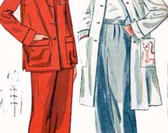 CLEARANCE Sale 1940s Christmas pajamas and LOUNGING Coat Simplicity 3354 Vintage 40s Sewing Pattern Size 14 Bust 32 Uncut FF