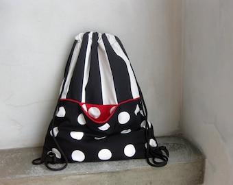 Cinch Sack, Drawstring Bag, Canvas Backpack, Cotton Drawstring, Gym Bag, Beach Bag, Travel Bag, School Bag, Summer Bag, Black White Cinch