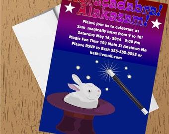 Magic Magician Abracadabra Digital Printable Birthday Party Invitations
