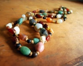 1970s Agate Necklace Vintage Boho Jewelry Beggar Beads Polished Stones Jade Quartz Carnelian Tied Knotted Hand Tied Multicolored