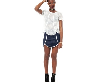 Navy Skirt, Navy Mini Skirt, Quilted Mini Skirt, High Waisted Skirt, Comfortable Skirt, Short Skirt, Modern Skirt, Minimalist Skirt