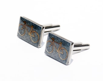 CUFF LINKS - Bike Photo Cuff Links - Bicycle - Brooklyn