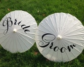 Pair of Bride and Groom Wedding Parasols in White, Photobooth Prop, Thank You, Mr. & Mrs. Monogram