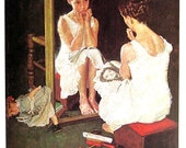 Girl at the Mirror - Vintage Book Page - 1976 Norman Rockwell Print