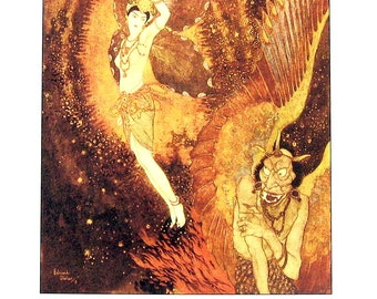 Dulac Fairy Tales - Princess Badoura, Sinbad - 1979 Vintage Book Plate
