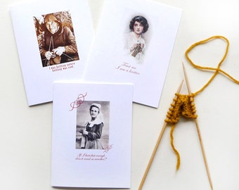 Gifts for Knitters Greeting Cards Retro Original Design Handmade