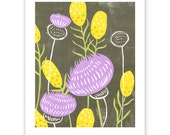 Mustard and Thistle Block Print Art Reproduction
