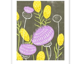 ART305: Mustard and Thistle Block Print Art Reproduction