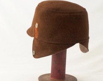 Ear Flap Hat in Cinnamon Brown Mohair : Mens, Womens Hats - Lola - L