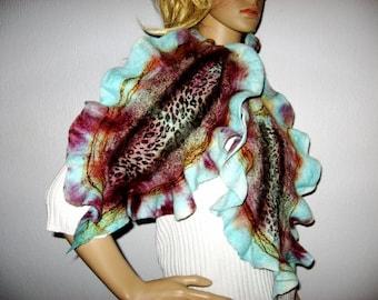 FELTED Ruffle  SCARF  Aqua Blue Leopard print Wool Womens Long Neck warmer