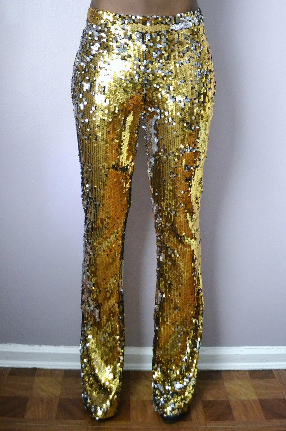 Gold Sequin Flare Pants