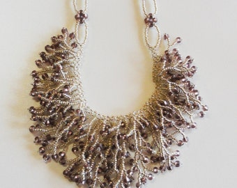 Brass iris crystal and silver lined amethyst crystal beadwoven fringe necklace