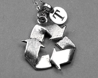Recycle Symbol Necklace, recycle sign charm, antiqued silver plated pewter, initial necklace, initial hand stamped, personalized, monogram