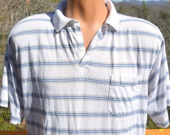 vintage 80s golf polo shirt STRIPES white blue Large preppy soft thin