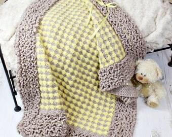 CROCHET PATTERN For Lilac Blossom Ruffled Baby Afghan Blanket PDF 139  Digital Download