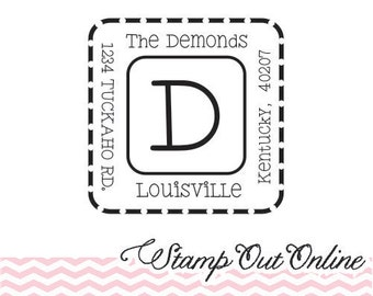 Custom Personalized Return Address Stamp, Rubber Wood Mount Clear Block Stamp, Dashed Square Home Address Stamp, Self Inking, Ink Pad --2445