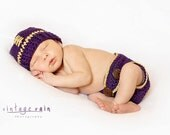 Crochet Lsu Football Hat with diaper cover set ,newborn to 24 months, photography prop , custom team colors available