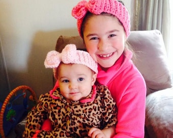 Bow Headband / earwarmer turban Size newborn  to adult  custom colors