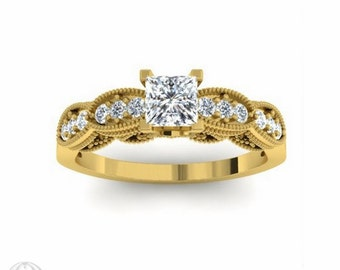Princess Engagement Ring Diamond Engagement Ring 14K Vintage Ring Filigree Milgrain Conflict Free Diamond