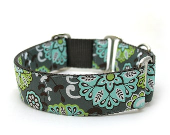 "1.5"" Grey Gardens martingale or buckle dog collar"