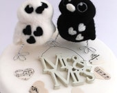 Bird Wedding Cake Topper Black and White Monochrome Opposites Needle Felted Birds