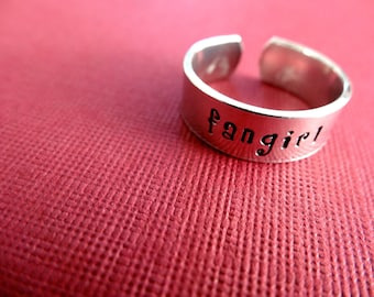 Fangirl Ring - Personalized Stamped Ring - Fandom Jewelry - 1/4 Band