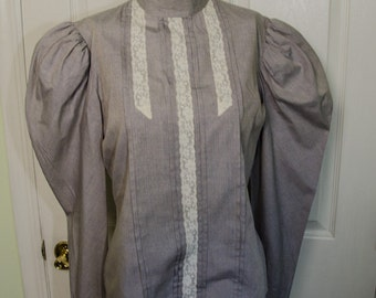 Vintage 1980s Victorian Style Shirt Puffed Sleeves