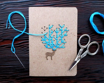 "DIY Embroidery ""Oh Deer"" Pocket Notebook Set of 2"