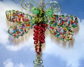 Red/Green! Large Multi Seeded Wings -Handmade/Sculpture/Ornament/Beautiful - Dragonfly -number 10642