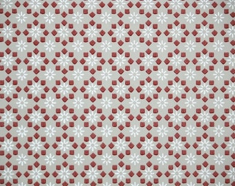 1940's Vintage Wallpaper - Burgundy and Gray Geometric Design