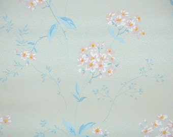 1920's Vintage Wallpaper - Antique Floral Wallpaper Pink Hydrangeas on Blue